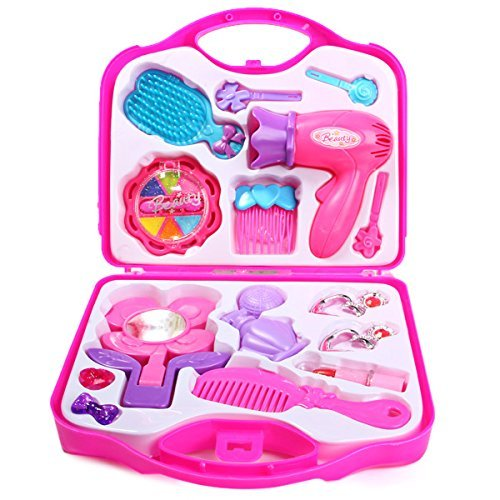 blossom make-up beauty set with hair dresser & accessories toy for girls, pink- Multi color