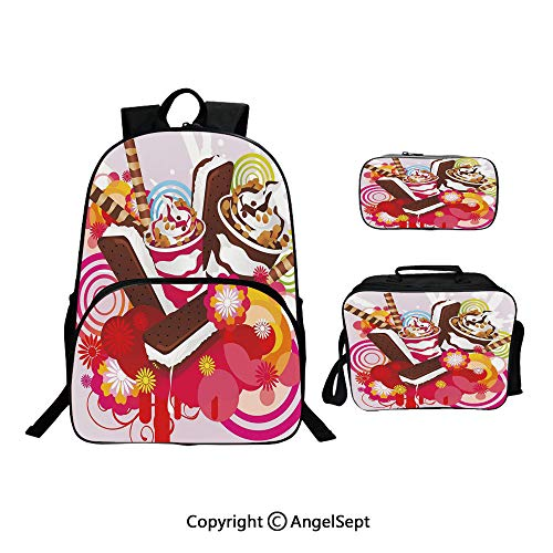 (School Backpack With Lunch Bag Pencil Bag One Set,Mixed Yummy Desserts with Exotic Flowers and Flavors Summer Tropical Theme Multicolor,Lightweight Laptop Bag For Teen Boys And Girls)