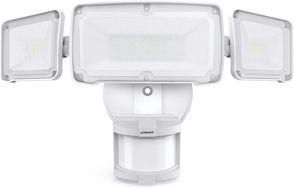 LEPOWER 35W LED Security Lights Motion Sensor Light Outdoor, 3500LM Dusk to Dawn Flood Light, 6000K, IP65 Waterproof, Full Metal, 3 Head Motion Detected Flood Light for Garage, Porch,Yard, Entryways