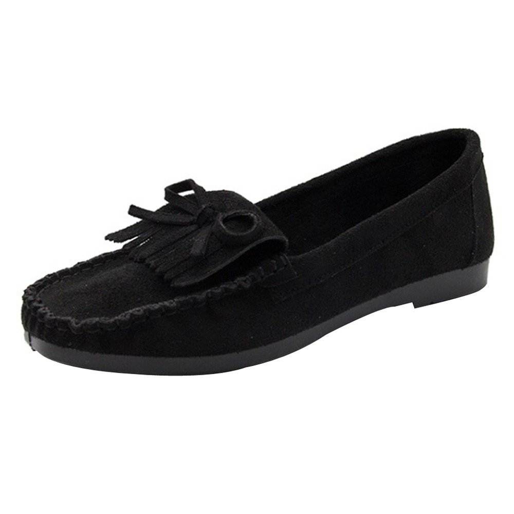 Shoes For Womens -Clearance Sale ,Farjing Women Frige Round Head Slip-on Non-slip Sole Casual Shoes Lazy Shoes Peas Shoe(US:7.5,Black )
