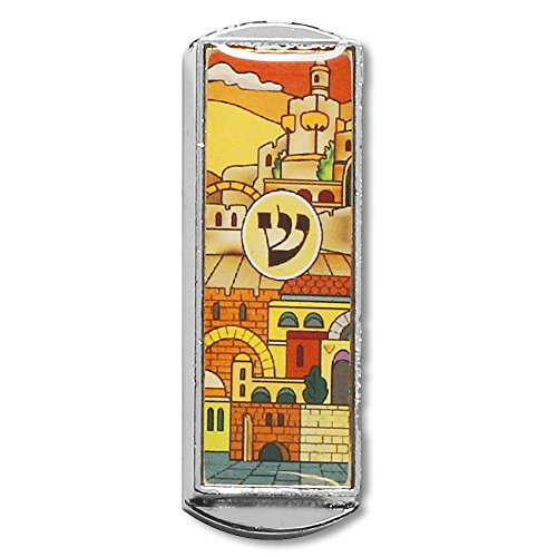 Car Mezuzah - With the Traveler's Prayer and Jerusalem (Mezuzah Car)
