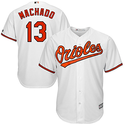 OuterStuff Manny Machado Baltimore Orioles White Youth Cool Base Home Replica Jersey (Large 14/16)
