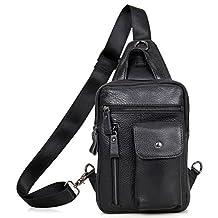 Everdoss Mens Sling Backpack Bag Top Genuine Leather Cross Body Bags Chest Pack
