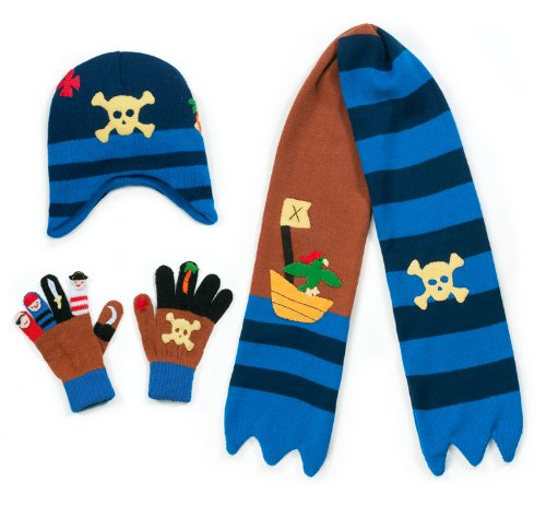 Kidorable Brown Pirate Soft Knit Hat/Scarf/Glove Set for Boys With Crossbones and Cutlass, Ages 9+
