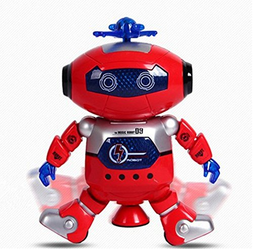 OWIKAR Electric Toys Dancing Robot 360 Rotation with Light and Music Cool Robot Model Toy For Kids Boys Girls Toddlers Battery Operated Small Electronic Robots Smart Space Robots Red