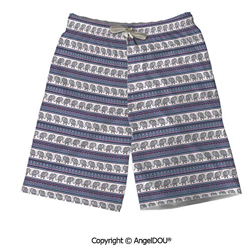 AngelDOU Summer Cool Quick Dry Board Shorts,Floral,Pastel Wildflowers Drawing - Party Pastel Destination