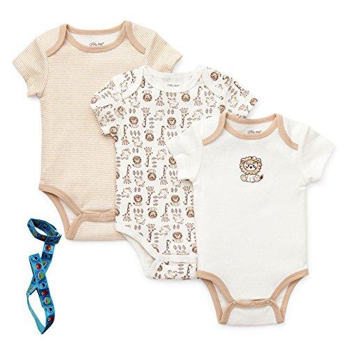 Little Me Newborn Baby-Boy 3 Pack Bodysuits Jungle Safari & Tether Ivory & Beige