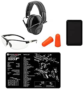 Glock AP60214 Range Kit: Shooting Eye Protection Glasses + Foam Earplugs + Adjustable Hearing Protecting Ear Muffs Noise Reduction 31 dB + Ultimate Arms Gear Gunsmith Bench Mat + Magnetic Parts Tray
