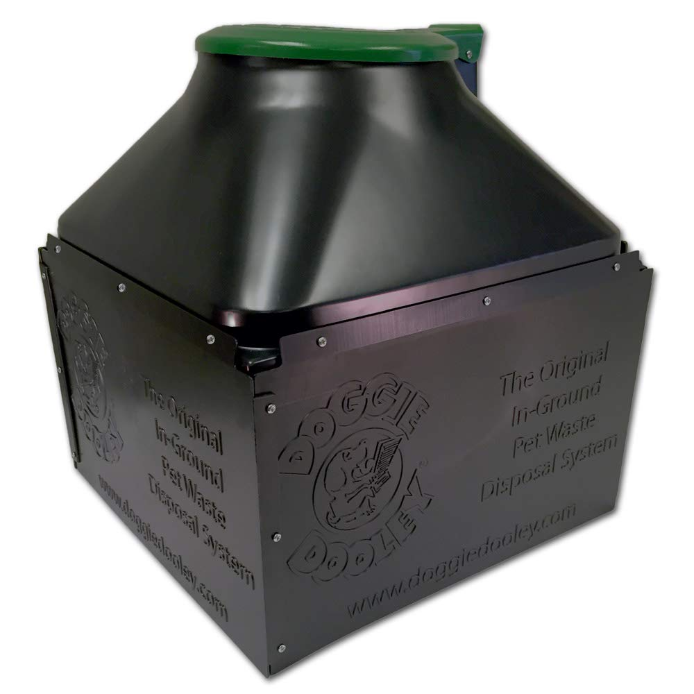 Doggie Dooley ''The Original In-Ground Dog Waste Disposal System, Black with Green Lid by Doggie Dooley