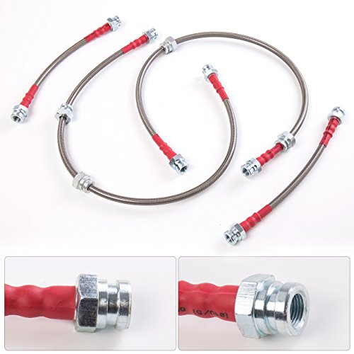 For Nissan 300ZX Z32 Front Rear Stainless Steel Braided Oil Brake Line Cable Hose Red End Cap