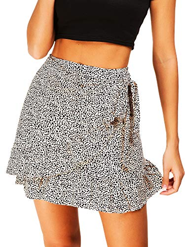 Women's High Waist Plaid Swing Ruffle Frill Mini Bodycon Skirt Gingham Dress (S, Leopard Print)