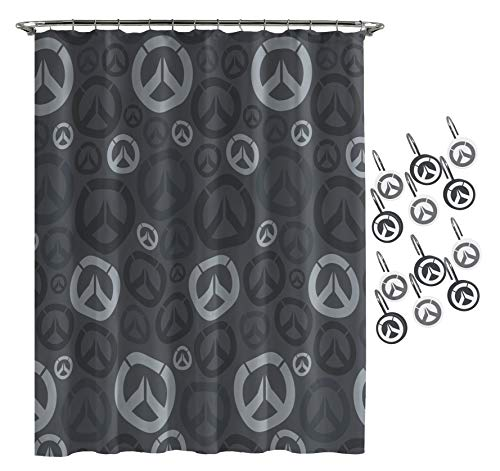 Jay Franco Overwatch Heroes Shower Curtain & 12-Piece Hook Set & Easy Use (Official Overwatch Product)
