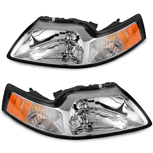 Headlamp for 99-04 Ford Mustang Replacement Headlight Assembly kit,[Hight Clarity & Hight Brightness] Chrome Housing Clear Lens Driving Light