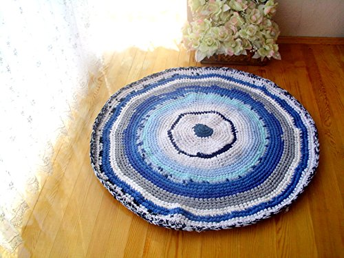 Crochet round rug, upcycled t-shirt rug, upcycled floor rug, ecofriendly braided rug