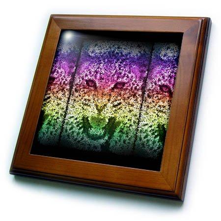 (3dRose Ruud van Eijk - Animals - Colorful Tiger in Dots - 8x8 Framed Tile (ft_283631_1))