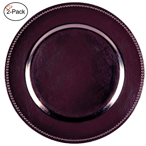 Tiger Chef 13-inch Eggplant Round Beaded Charger Plates, Set of 2,4,6, 12 or 24 Dinner Chargers (2-Pack)