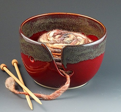 knitting-yarn-bowl-in-cranberry-red-with-metallic-gray-rim