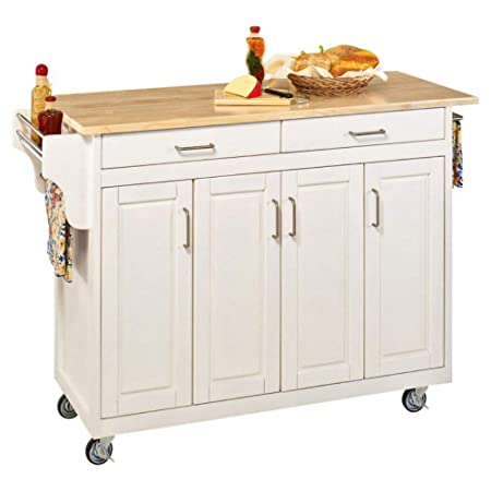Home Styles 9200-1024 Create-a-Cart 9200 Series Cabinet Kitchen Cart with Black Granite Top, White Finish