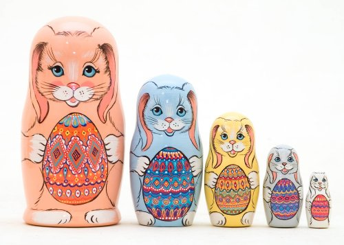 Easter Bunnies w/ Eggs Nesting Doll 5pc./5'' by Golden Cockerel (Image #1)