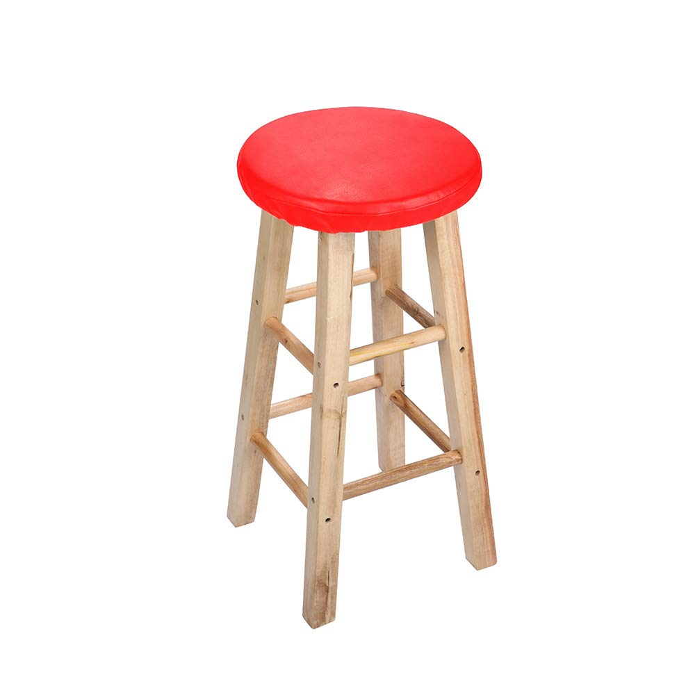 Lominc Padded Black Vinyl Round Bar Stool Cover,with 2cm Foam, Waterproof & Anti Slip Stool Cushion for Wooden/Metal Stools