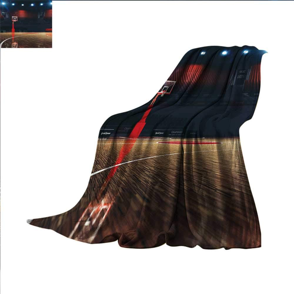 smallbeefly Basketball Digital Printing Blanket Picture of Empty Basketball Court Sport Arena with Wood Floor Print Summer Quilt Comforter 50''x30'' Brown Black and Red