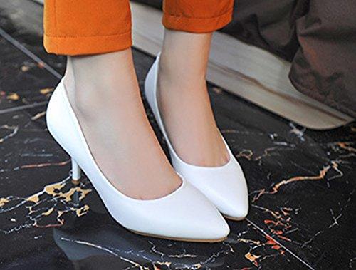 Easemax Mode Féminine Bout Pointu Coupe Basse Stiletto Chaton Talons Glisser Sur Les Pompes Chaussures Blanc