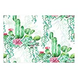 interesting tropical outdoor kitchen ideas DYNH Watercolor Cactus Bath Mat, Exotic Tropical Desert Plant Mexican Cacti Spikes and Flowers Doormat, Flannel Non-Slip Floor Rug 15.7x23.6in Bathroom Accessories Bath Rugs