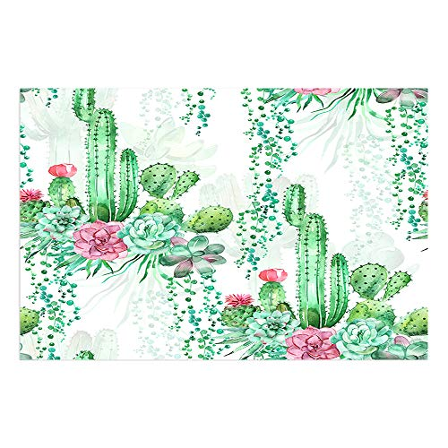 DYNH Watercolor Cactus Bath Mat, Exotic Tropical Desert Plant Mexican Cacti Spikes and Flowers Doormat, Flannel Non-Slip Floor Rug 15.7x23.6in Bathroom Accessories Bath Rugs