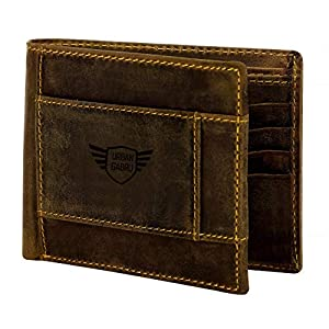 urbangabru Men's Slim Leather Wallet (Brown)