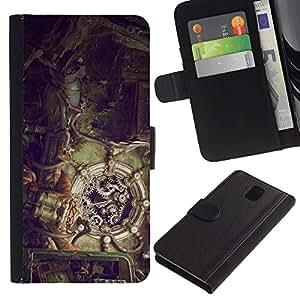 NEECELL GIFT forCITY // Billetera de cuero Caso Cubierta de protección Carcasa / Leather Wallet Case for Samsung Galaxy Note 3 III // Ilustración Steampunk