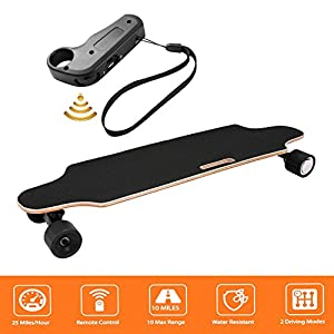 shaofu Electric Skateboard Youth Electric Longboard with Wireless Remote Control, 250W Motor, 20 MPH Top Speed, 10 Miles Range (US Stock)