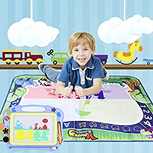 Young Choi's Kids Doodle Toy Magnetic Drawing Board and Water Doodle Mat 2 in 1 Toy Set Purple, Toddlers Large Aqua Drawing Doodle Mat and Assorted Color Toy Writing Painting Pad