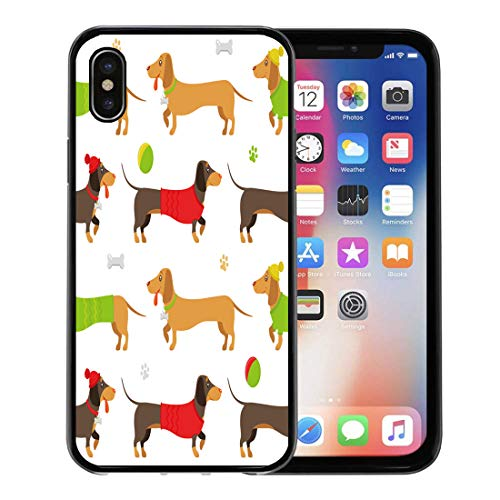 Semtomn Phone Case for Apple iPhone Xs case,Beige Dog Flat Pattern of Brown and Ginger Dachshunds Wearing Playing Toys on Walk Green Weiner for iPhone X Case,Rubber Border Protective Case,Black