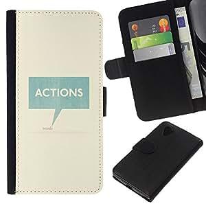 Stuss Case / Funda Carcasa PU de Cuero - Acciones Habla texto del trullo Caja minimalista - LG Nexus 5 D820 D821