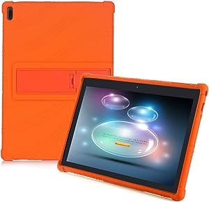 HminSen Tablet Case for Lenovo Tab E10 (TB-X104F) Kid Friendly Soft Silicone Adjustable Stand Cover for Lenovo Tab 4 10 /Tab 4 10 Plus (Orange)
