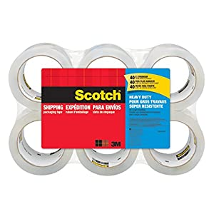 "Scotch Heavy Duty Shipping Packaging Tape, 3"" Core, 1.88"" x 54.6 Yards, 6-Rolls (3850-6)"