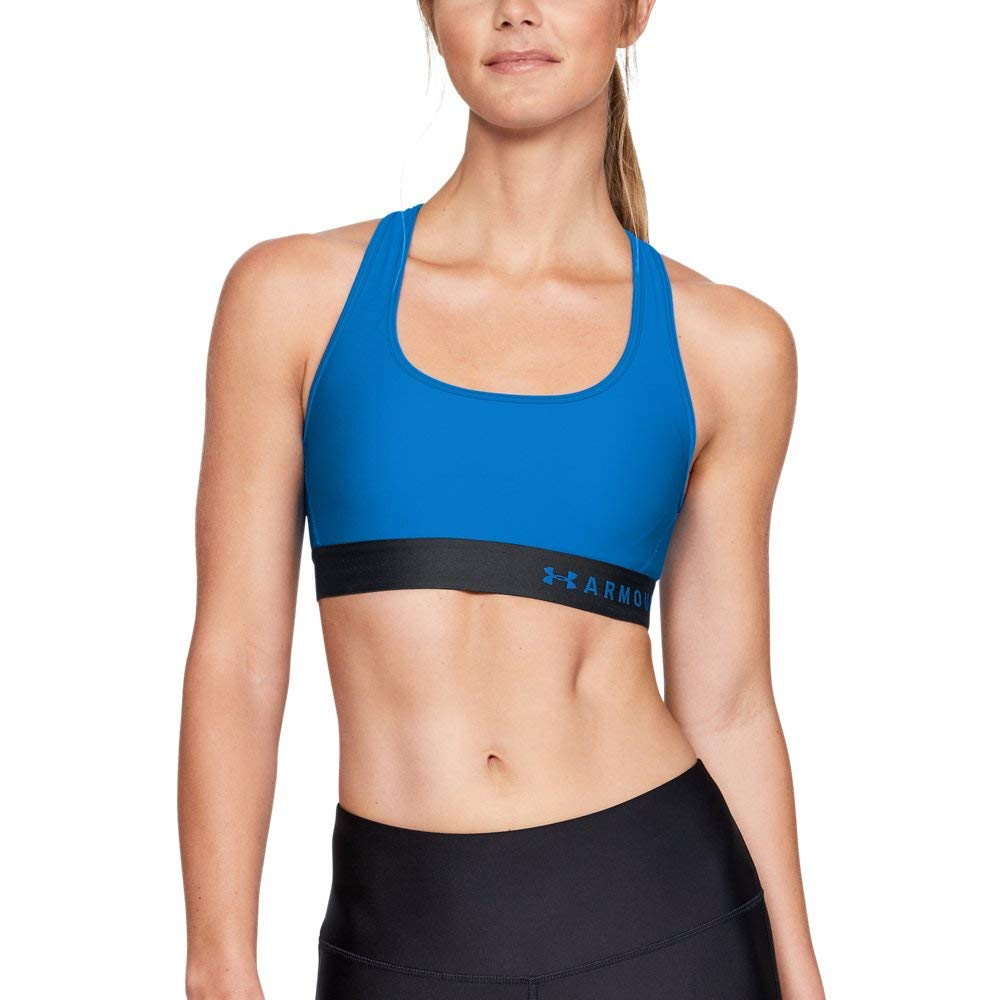 Under Armour Women's Armour Mid Crossback Sports Bra, Blue Circuit (436)/Blue Circuit, X-Small by Under Armour