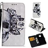 Moto E4 Case (USA Verison), Love Sound [Wrist Strap] [Stand Feature] [3D Painted] PU Leather Wallet [Card/Cash Slots] Flip Cover for Motorola Moto E4/Moto E (4th Generation), Skull Review