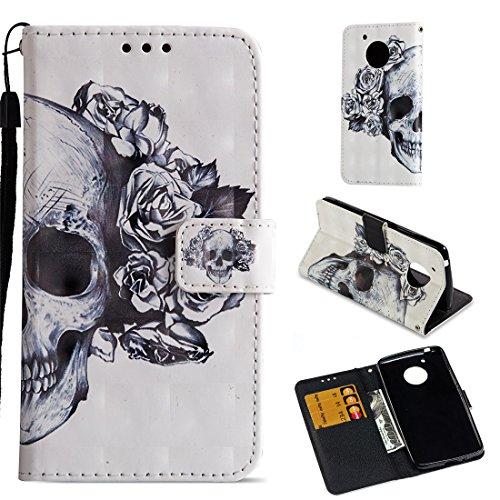 Moto E4 Case (USA Verison), Love Sound [Wrist Strap] [Stand Feature] [3D Painted] PU Leather Wallet [Card/Cash Slots] Flip Cover for Motorola Moto E4/Moto E (4th Generation), Skull
