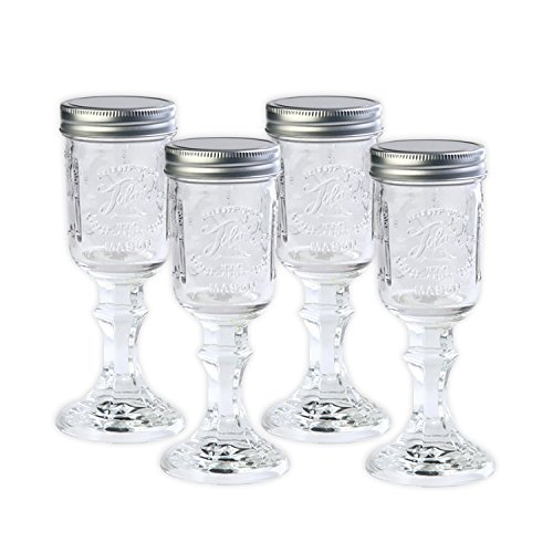 Toland Home Garden Mason Jar 8 oz Wine Glass (Set of 4), 1/2 pint, Clear for $<!--$19.99-->