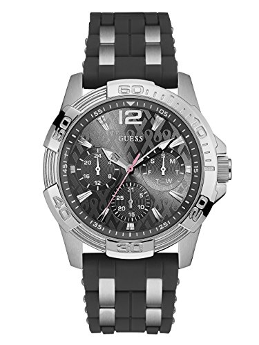 GUESS Men's U0032G7 Sporty Silver-Tone Stainless Steel Watch with Multi-function Dial and Strap - Men Sale Guess