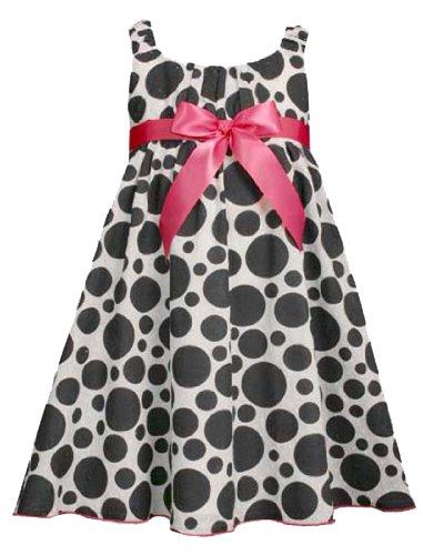 Bonnie Jean Girls 4-6X WHITE BLACK DOT EMPIRE WAIST BABY DOLL CLIP DOT Special Occasion Wedding Flower Girl Party Dress