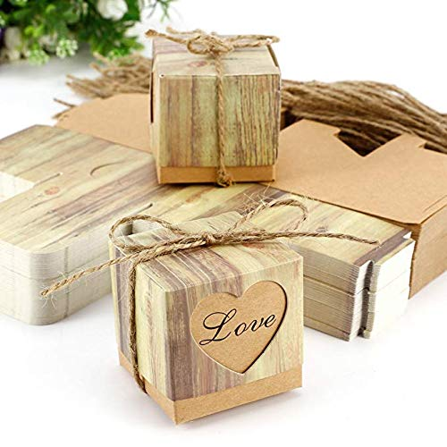 HopingFire 100pcs Weeding Favor Boxes Kraft Paper Boxes Sweet Heart Party Favour Candy Gift Box Wedding Souvenirs