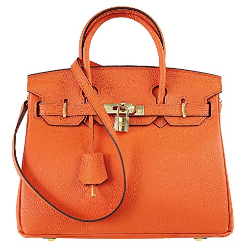 SAMKITY Women's Genuine Leather Top Handle Bags Classic Purse Padlock Handbags Orange 30 CM ...