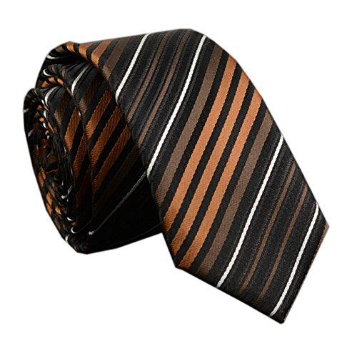 - Men Unisex Women Bronze Stripe Silk Ties Unique Engagement Neckties Wedding Day