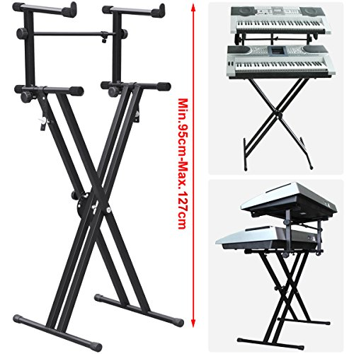 World Pride Pro Double 2-tier X Shape Adjustable Dual Music Keyboard Stand