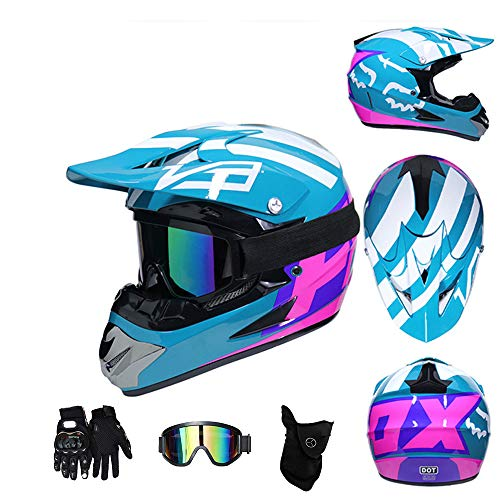 (CHUDAN Motocross Helmet Set Men/Women, Full Face Motorcycle Adult Moped Helmet with Glasses/Gloves/mask DOT Certification for Off Road Helmet ATV Dirt Bike Downhill MTB DH,Blue,L)