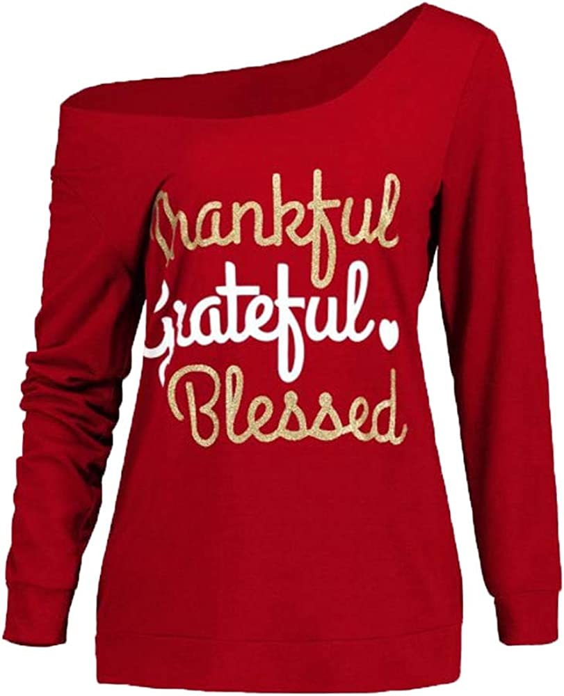 HHmei Womens Thanksgiving Casual Long Sleeve Letter Print Skew Neck Raglan Graphic Tops T-shirt