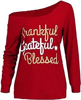 Yonlanclot Women's Long Sleeve Oblique Collar Long Sleeves Casual Thanksgiving Letter Print Skew Neck T-Shirt Fashion Top (M, Black)