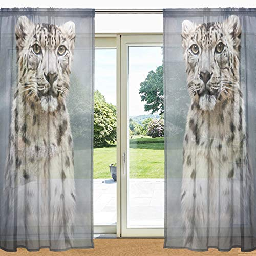 My Daily Drawing Snow Leopard Print Sheer Window Curtain 2 Panels 55